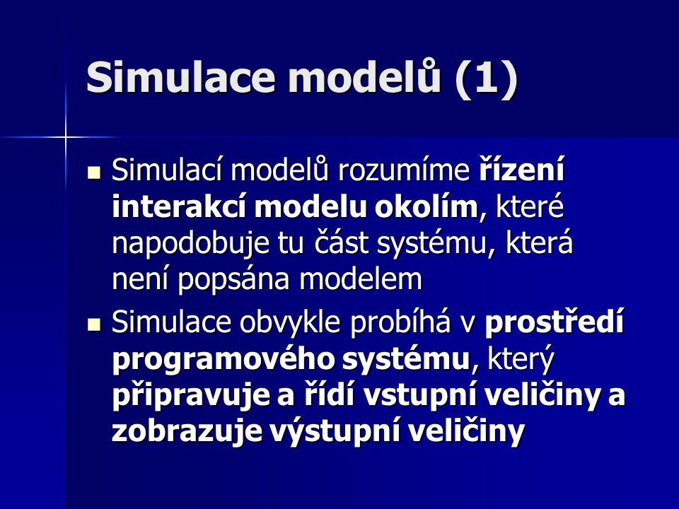 Simulace modelů (1) Simulací modelů rozumíme řízení interakcí modelu okolím, které napodobuje tu část systému, která není popsána modelem.