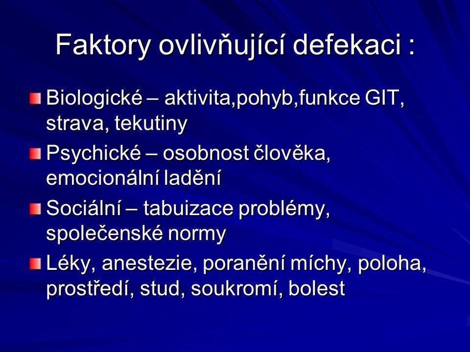 Faktory ovlivňující defekaci :