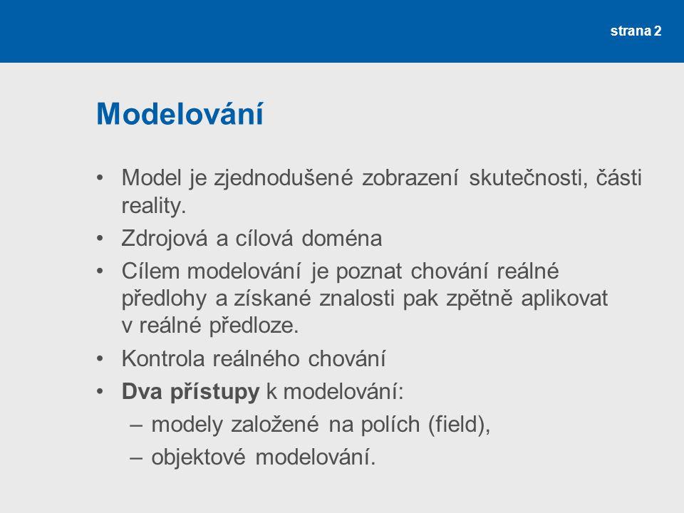 Modelování Model je zjednodušené zobrazení skutečnosti, části reality.