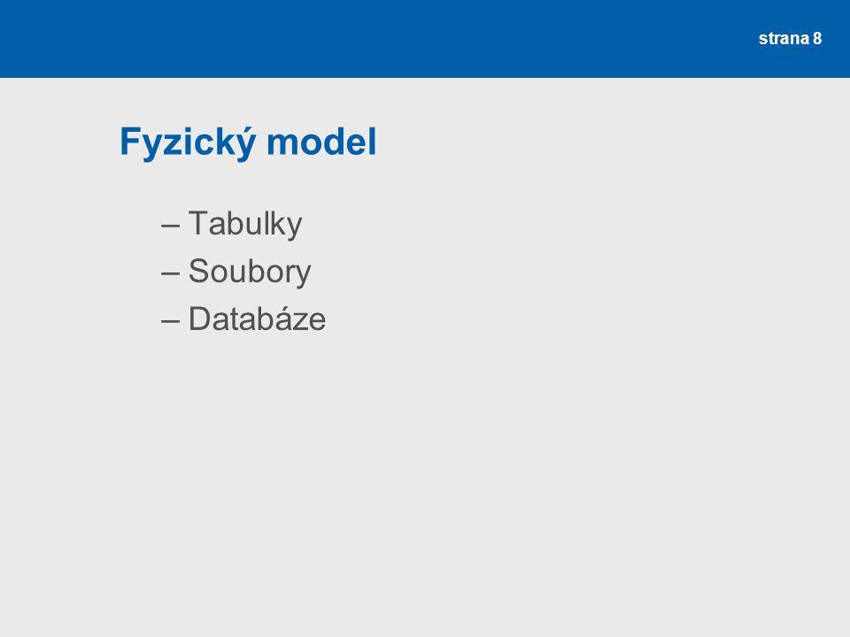 Fyzický model Tabulky Soubory Databáze