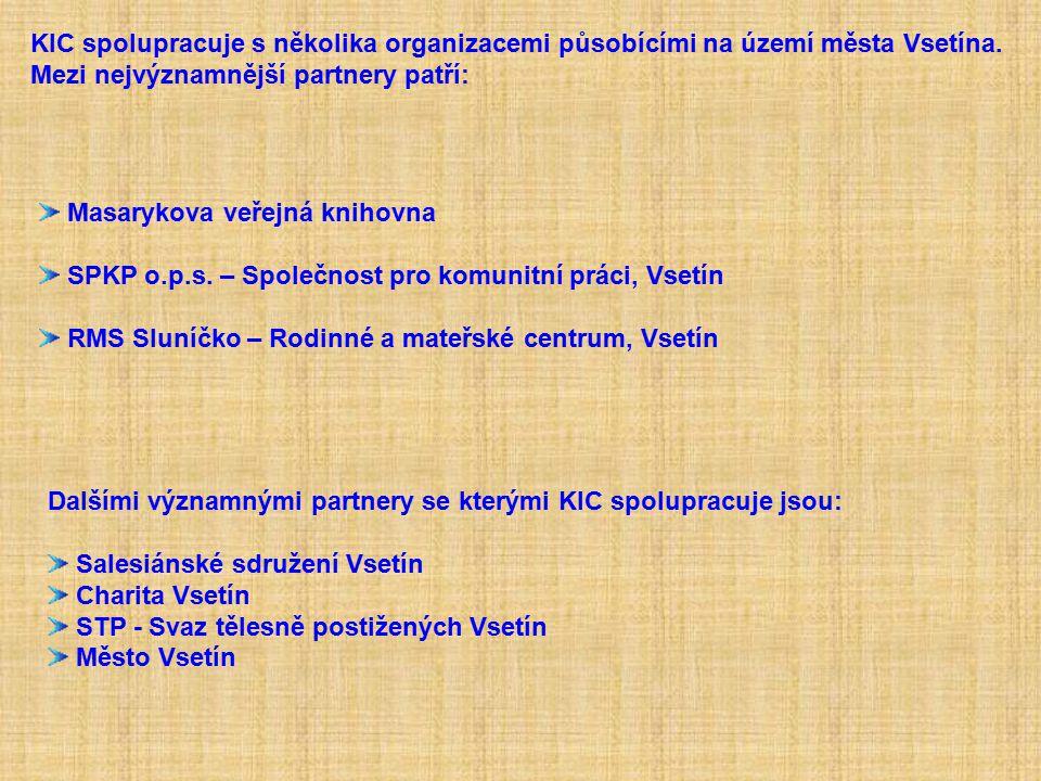 KIC spolupracuje s několika organizacemi působícími na území města Vsetína.