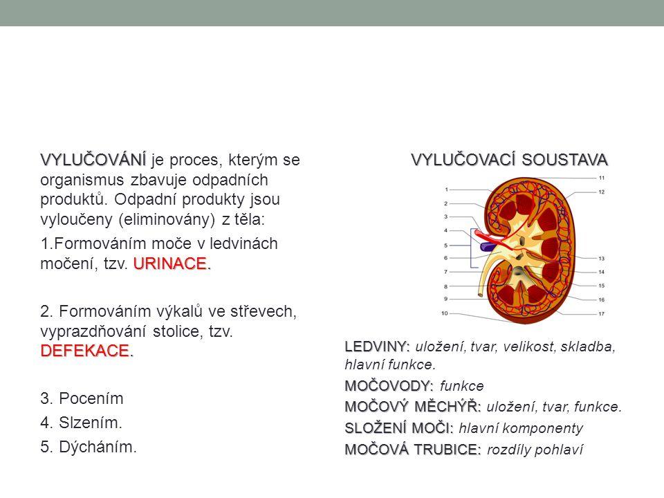 1.Formováním moče v ledvinách močení, tzv. URINACE.