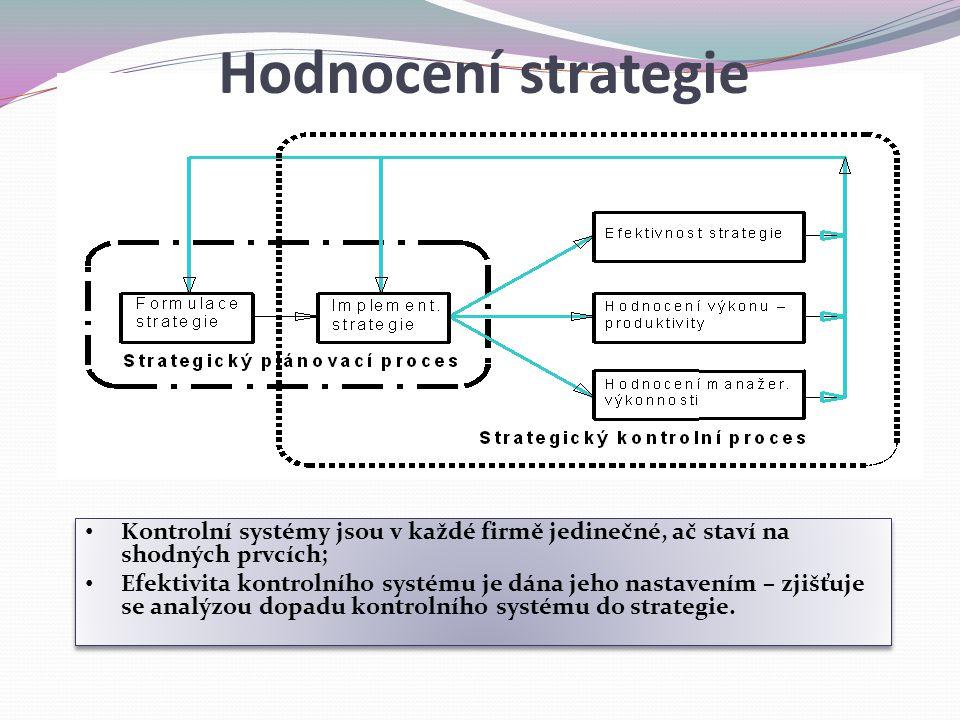 Hodnocení strategie Kontrolní systémy jsou v každé firmě jedinečné, ač staví na shodných prvcích;
