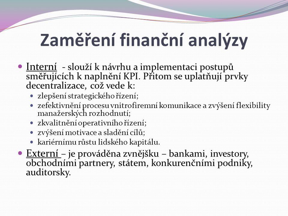 Zaměření finanční analýzy