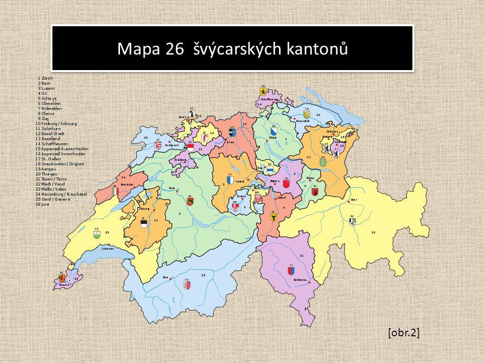 Mapa 26 švýcarských kantonů