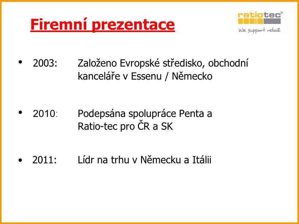 Firemní prezentace 2003: Založeno Evropské středisko, obchodní kanceláře v Essenu / Německo.
