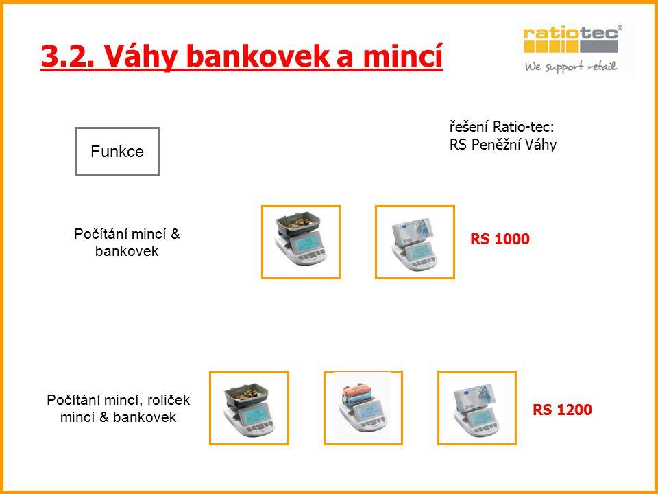 3.2. Váhy bankovek a mincí Funkce řešení Ratio-tec: RS Peněžní Váhy