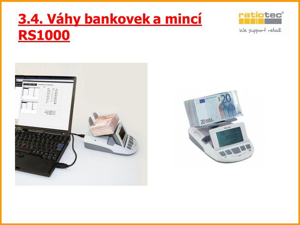 3.4. Váhy bankovek a mincí RS1000