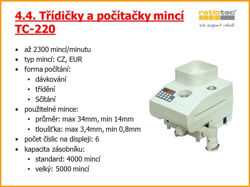 4.4. Třídičky a počítačky mincí TC-220