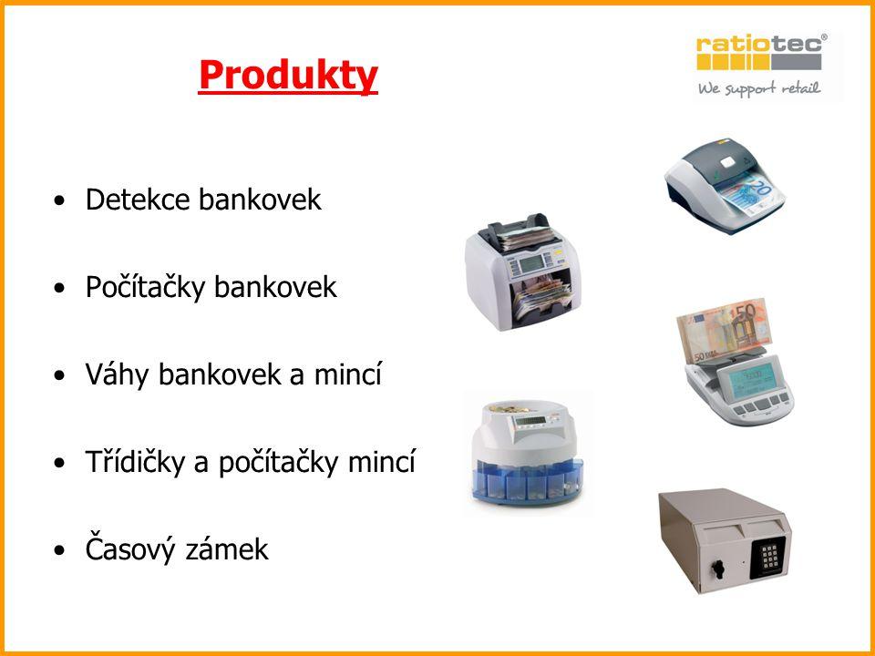 Produkty Detekce bankovek Počítačky bankovek Váhy bankovek a mincí