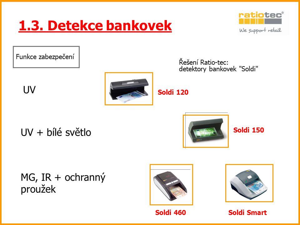 1.3. Detekce bankovek UV UV + bílé světlo MG, IR + ochranný proužek