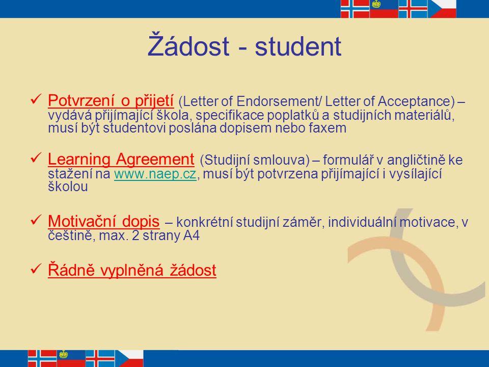 Žádost - student
