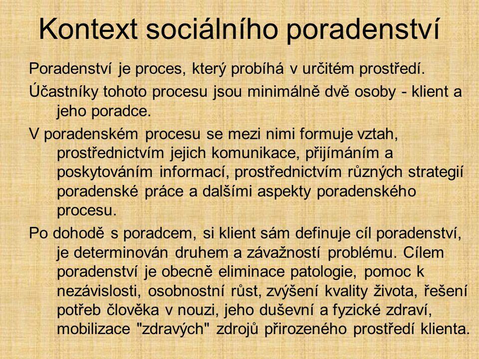 Kontext sociálního poradenství
