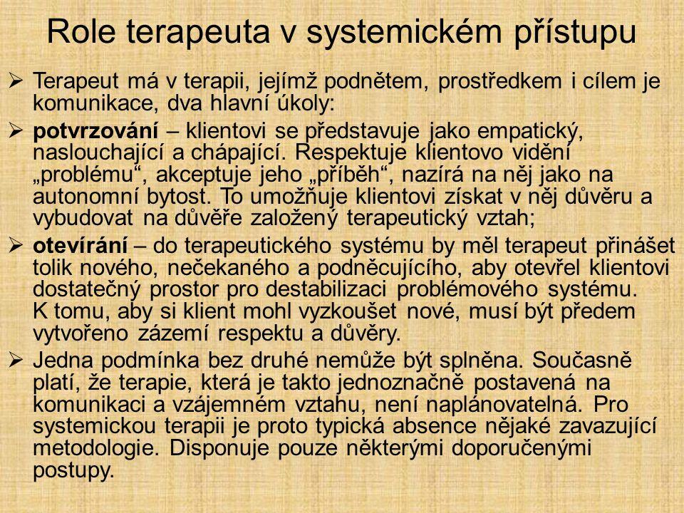 Role terapeuta v systemickém přístupu