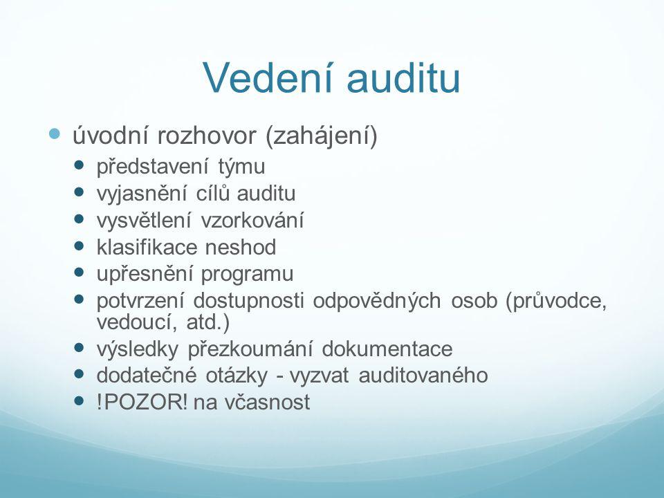 Vedení auditu úvodní rozhovor (zahájení) představení týmu