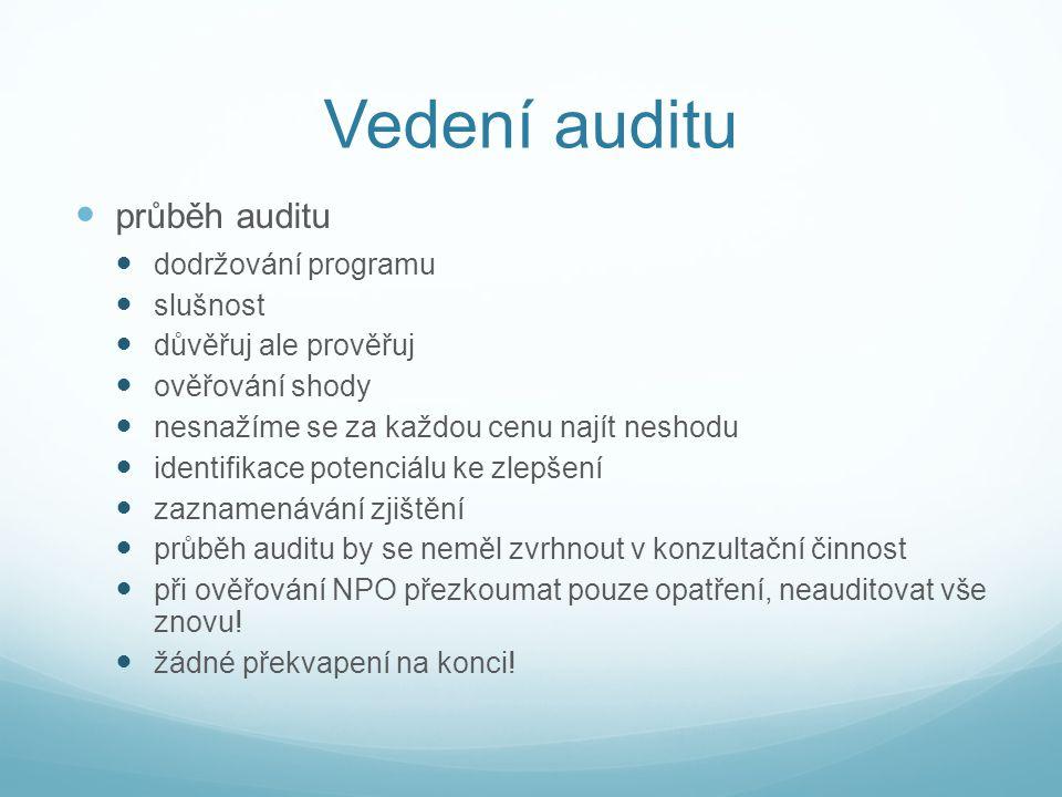 Vedení auditu průběh auditu dodržování programu slušnost