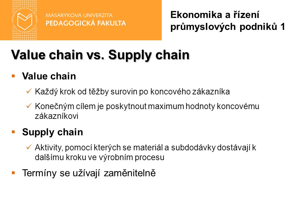 Value chain vs. Supply chain