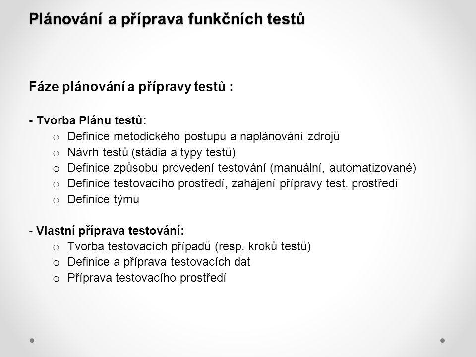 Plánování a příprava funkčních testů