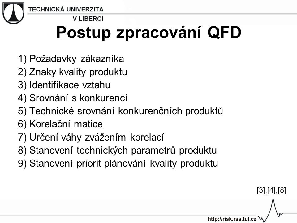 Postup zpracování QFD 1) Požadavky zákazníka 2) Znaky kvality produktu