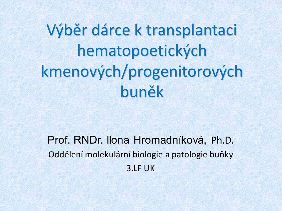Výběr dárce k transplantaci hematopoetických kmenových/progenitorových buněk