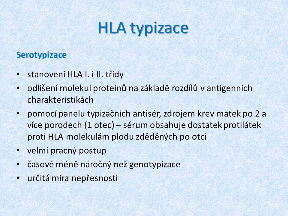 HLA typizace Serotypizace stanovení HLA I. i II. třídy