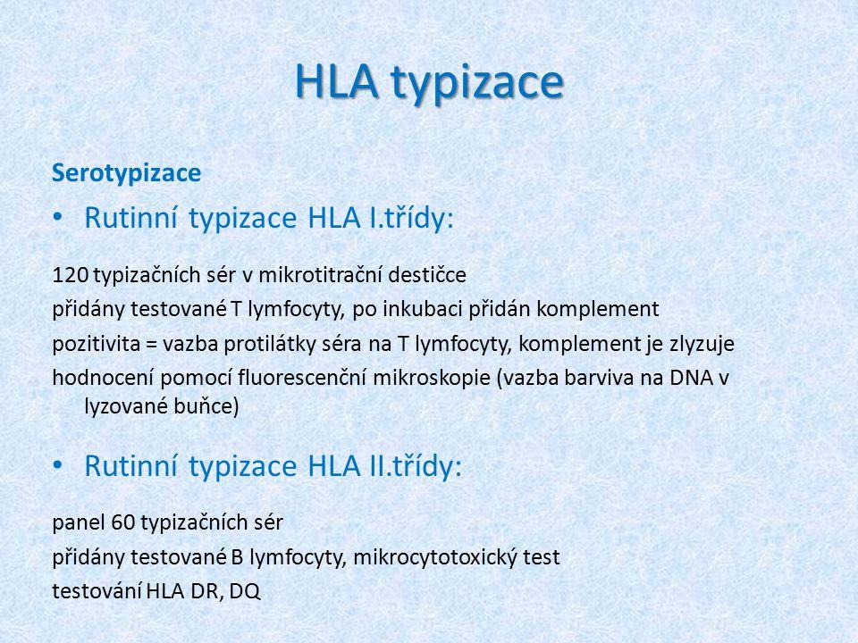 HLA typizace Rutinní typizace HLA I.třídy: