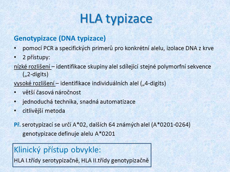 HLA typizace Klinický přístup obvykle: Genotypizace (DNA typizace)