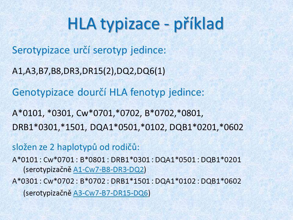 HLA typizace - příklad Serotypizace určí serotyp jedince: