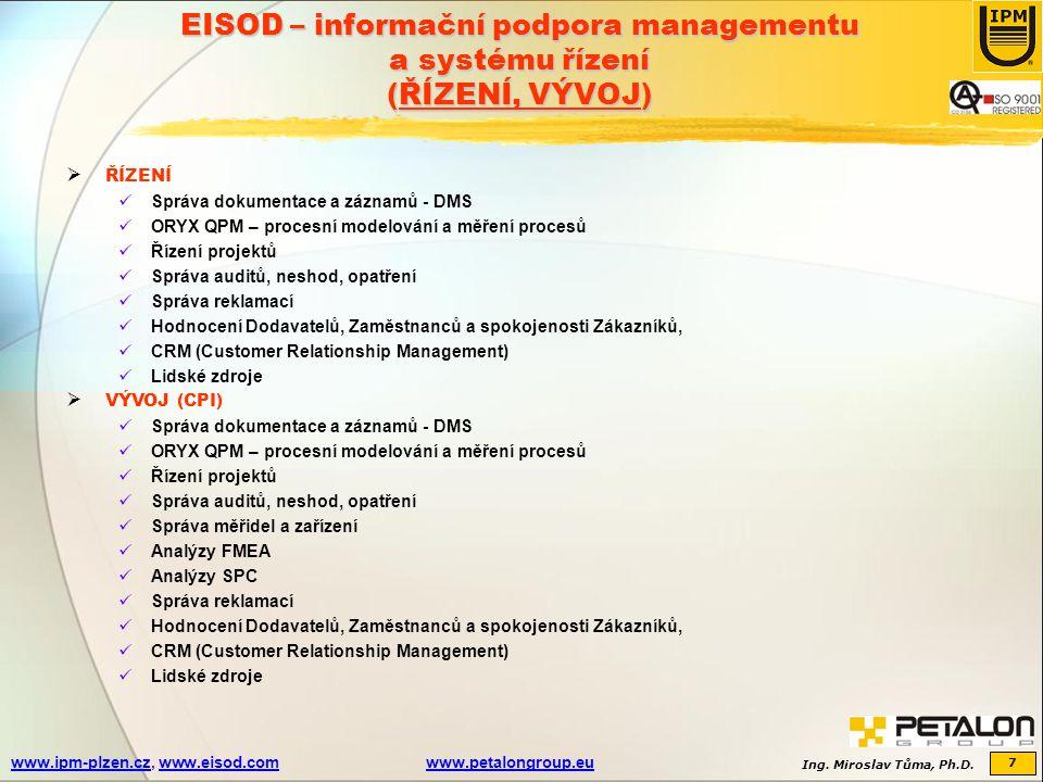 EISOD – informační podpora managementu a systému řízení (ŘÍZENÍ, VÝVOJ)