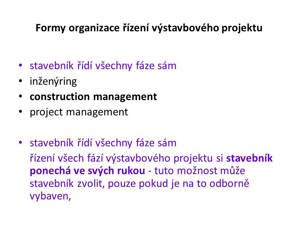 Formy organizace řízení výstavbového projektu
