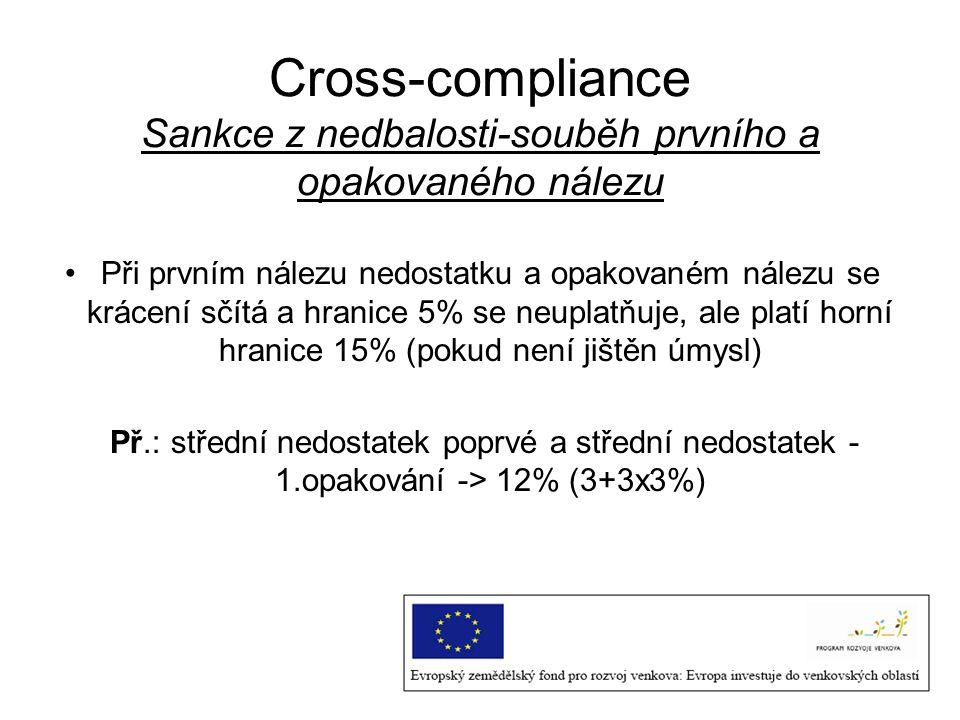 Cross-compliance Sankce z nedbalosti-souběh prvního a opakovaného nálezu