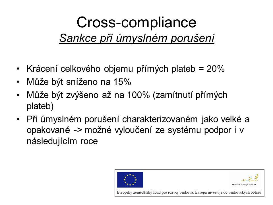 Cross-compliance Sankce při úmyslném porušení