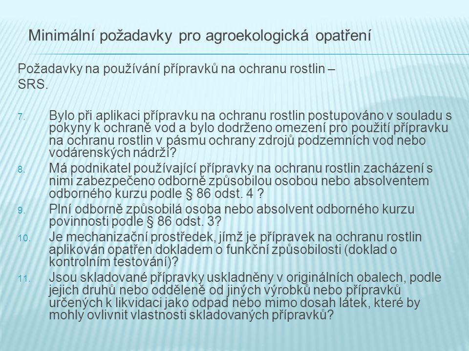 Minimální požadavky pro agroekologická opatření