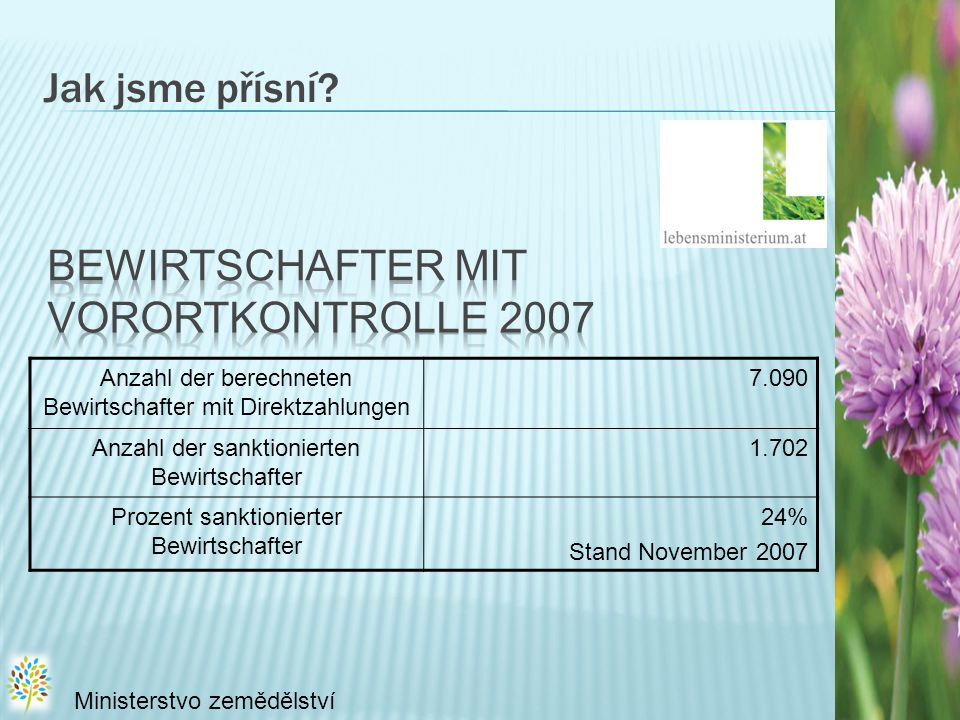 Jak jsme přísní Bewirtschafter mit Vorortkontrolle 2007