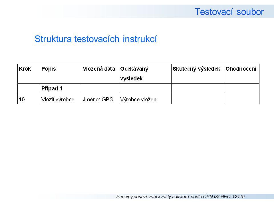 Testovací soubor Struktura testovacích instrukcí