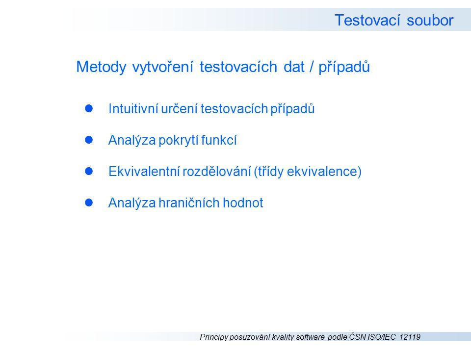 Metody vytvoření testovacích dat / případů