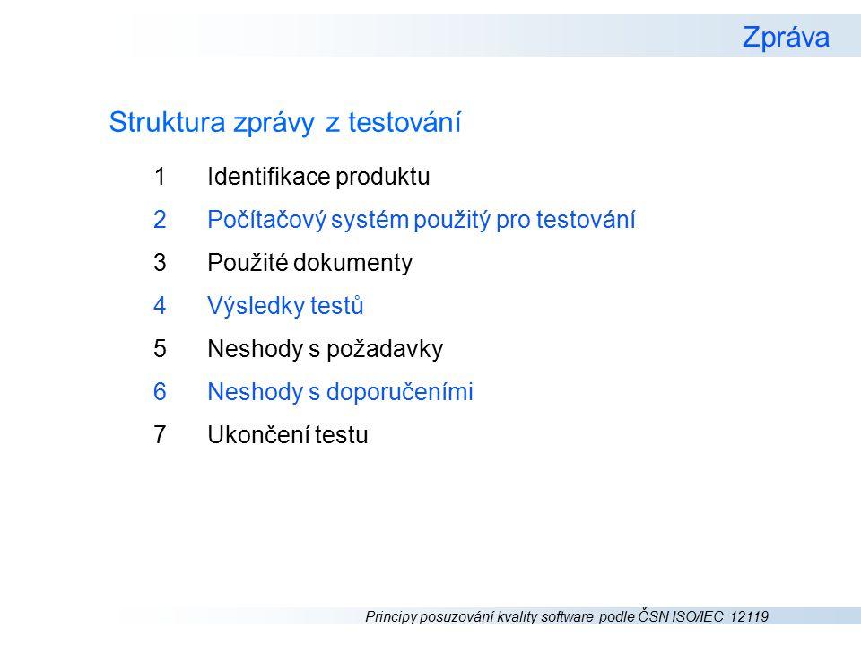 Struktura zprávy z testování