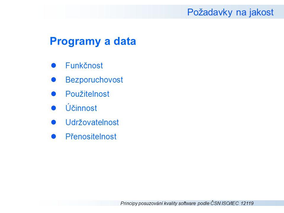 Programy a data Požadavky na jakost Funkčnost Bezporuchovost