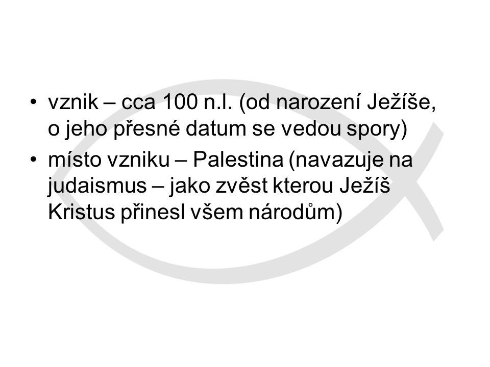 vznik – cca 100 n.l. (od narození Ježíše, o jeho přesné datum se vedou spory)