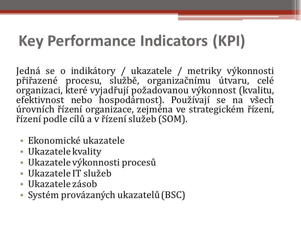 Key Performance Indicators (KPI)