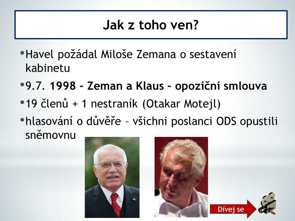 Jak z toho ven Havel požádal Miloše Zemana o sestavení kabinetu