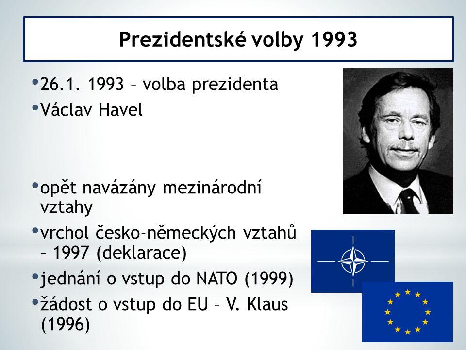 Prezidentské volby 1993 26.1. 1993 – volba prezidenta Václav Havel