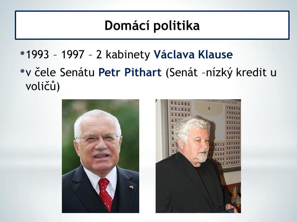 Domácí politika 1993 – 1997 – 2 kabinety Václava Klause