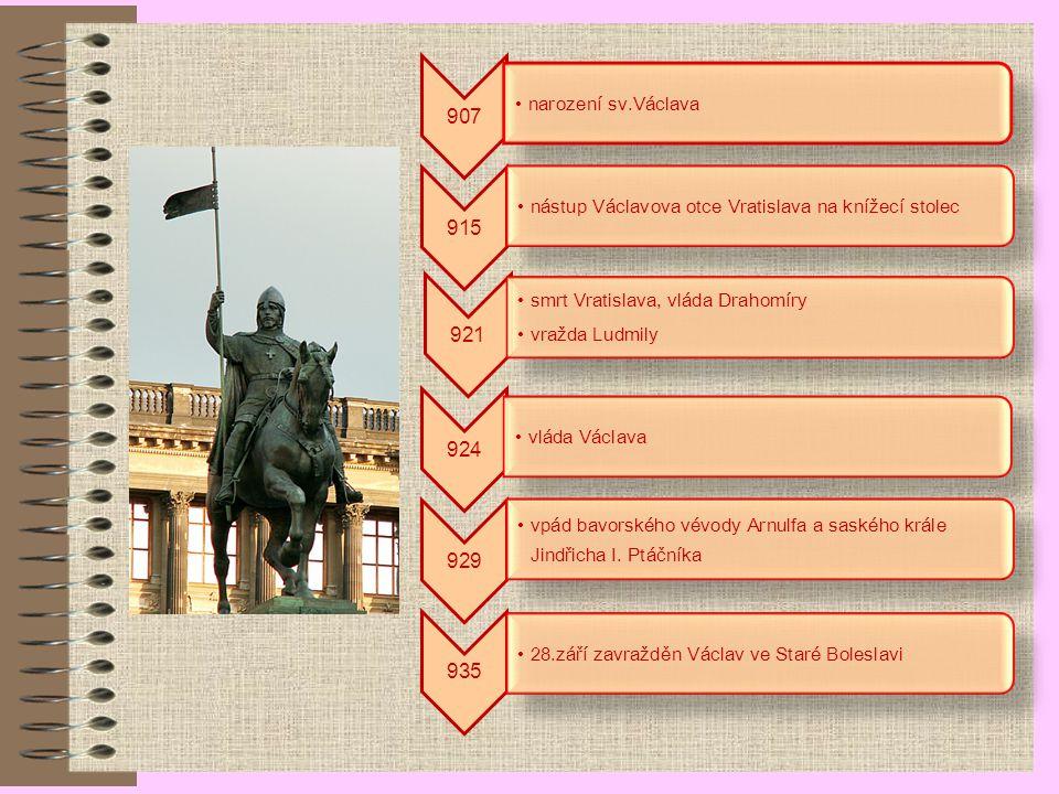 907 narození sv.Václava. 915. nástup Václavova otce Vratislava na knížecí stolec. 921. smrt Vratislava, vláda Drahomíry.