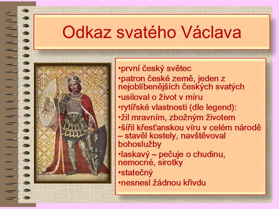 Odkaz svatého Václava první český světec