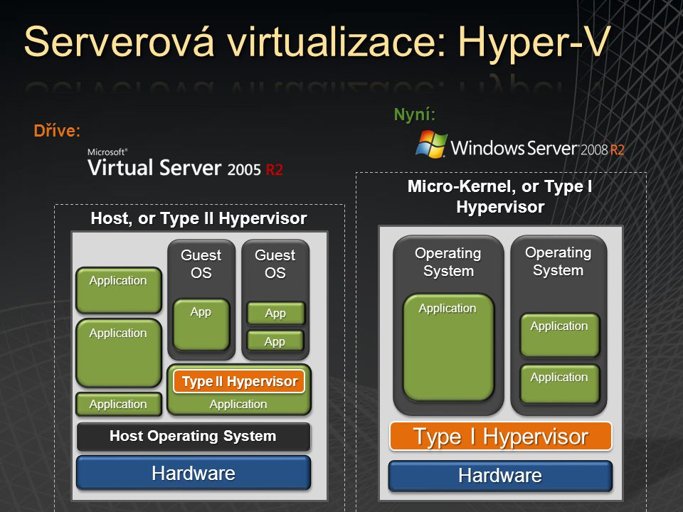 Micro-Kernel, or Type I Hypervisor Host, or Type II Hypervisor