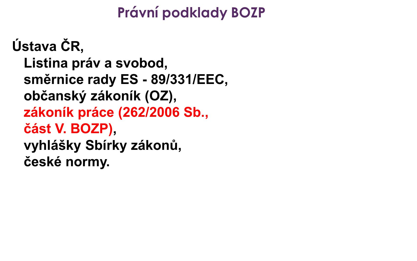 Právní podklady BOZP Ústava ČR, Listina práv a svobod, směrnice rady ES - 89/331/EEC, občanský zákoník (OZ),