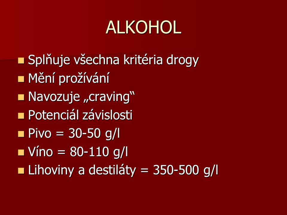 ALKOHOL Splňuje všechna kritéria drogy Mění prožívání