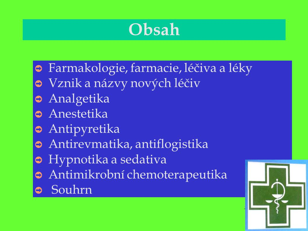 Obsah Farmakologie, farmacie, léčiva a léky Vznik a názvy nových léčiv