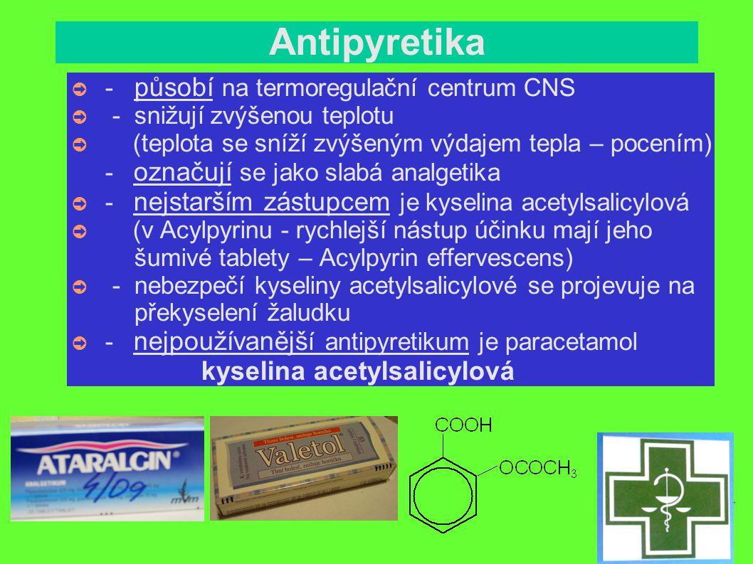 Antipyretika - působí na termoregulační centrum CNS